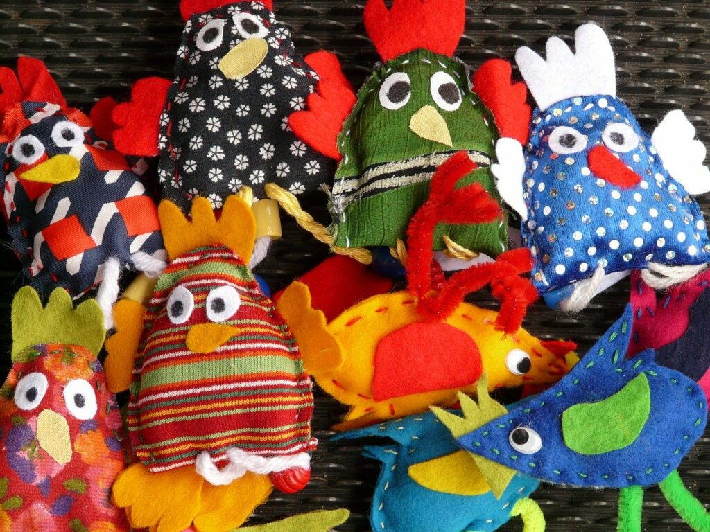 finger puppets, hand puppets, dolls